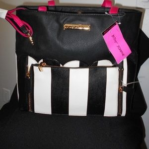 Betsey Johnson BLACK AND WHITE STRIPED TOTE